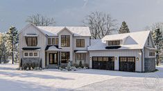 1.5 Story Modern Farmhouse Style House Plan | Savannah Falls #houseplans #floorplan #homeplan #architecturaldesigner #homesweethome #dreamhome #nexthome #futurehome #modernfarmhouse #winterwonderland #farmhouse #exteriorideas #homeexterior #homeinspo #home #modernfarmhousestyle