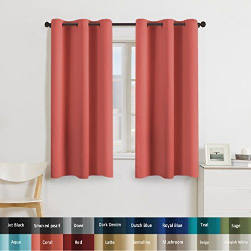 Turquoize Solid Blackout drapes, Room Darkening, Coral, Themal ...