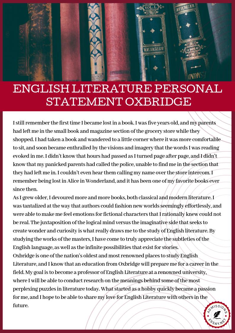 English Literature Personal Statement Oxbridge Essay Writing Cambridge