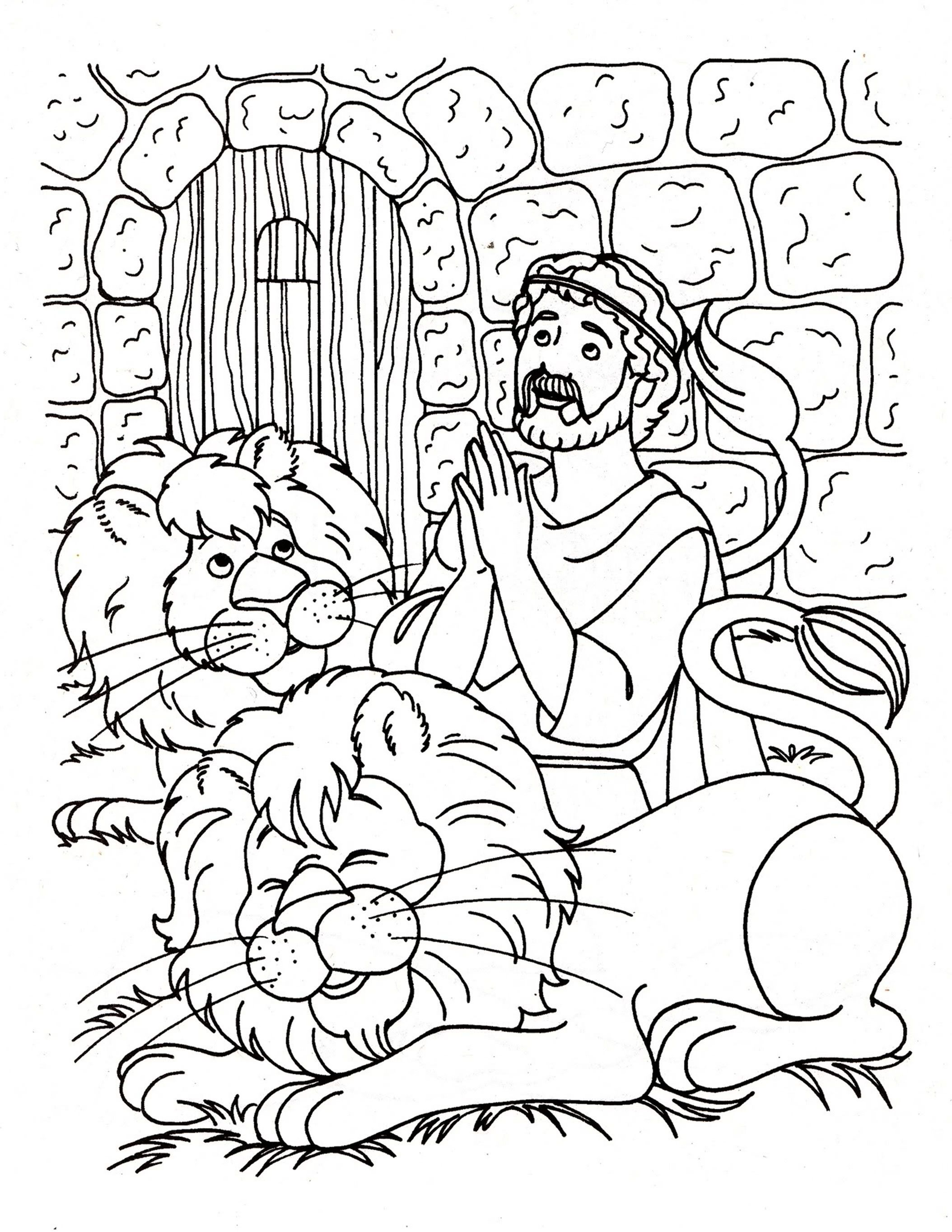 Daniel and the lions den coloring page | Bible Coloring Pages for ...