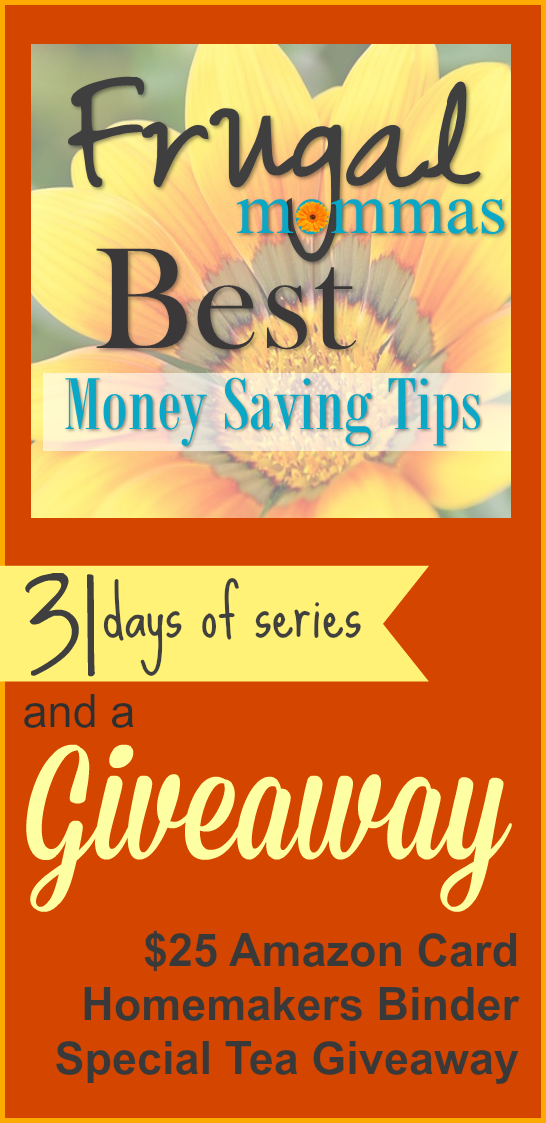 Frugal Mommas Best Money Saving Tips - 31 Days Series and Special Giveaway