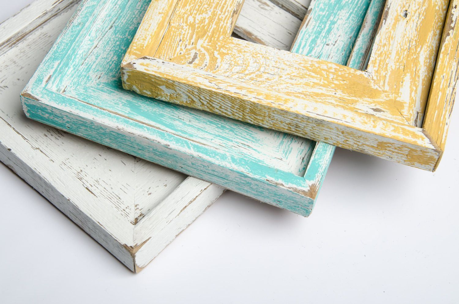 3) 8x10 Stacked Rustic Barnwood White, Yellow, Turquoise Stacked ...