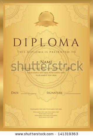 Gold Diploma of completion (template or sample blank background ...