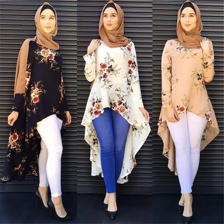 6db11d5ddafd8 Fashion Muslim Clothing Long Sleeve Print Shirts Blouse Women Loose Tops  Abaya