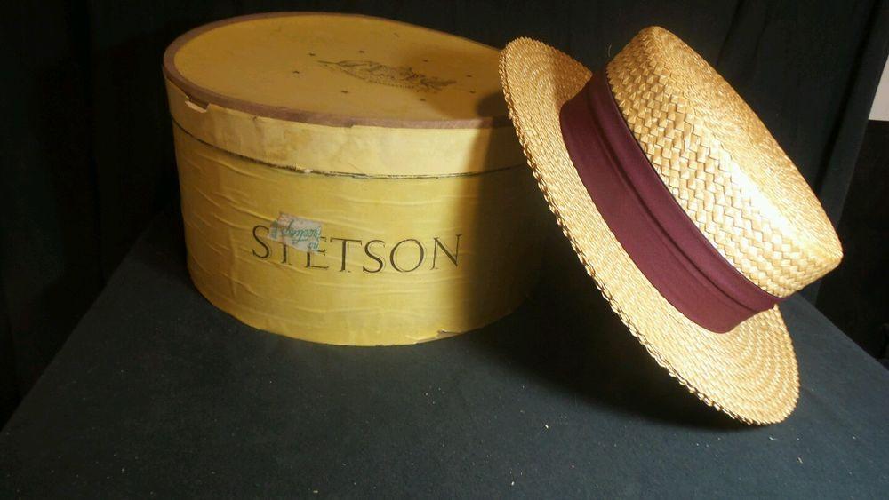 f067883a5e8e5 Stetson Select Straw Boaters Hat Circa 1940 - Sz Long Oval 1 8 W ORIGINAL  BOX o2  Stetson