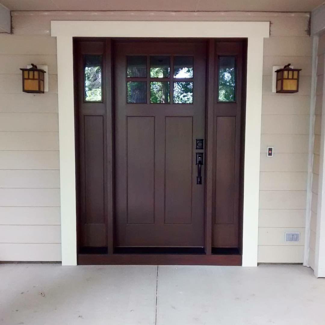 Fiberglass Door Finished With Zar 119 Mocha And Top Coated With Zar Ultra Exterior Satin Polyuret Craftsman Exterior Door Craftsman Front Doors Fiberglass Door