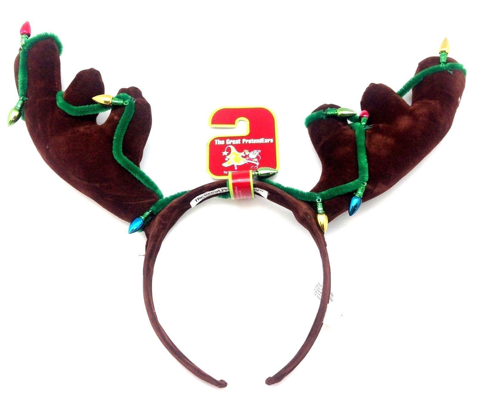 Reindeer X-Mas Headband Costume Dress Up PretendEars Fun Party Bow Antler Hat