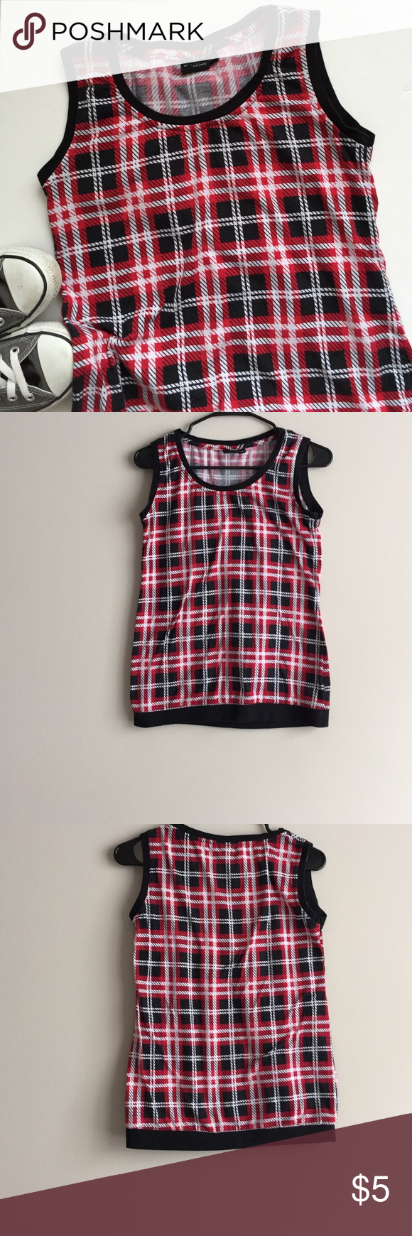 Sleeveless tee Red black and white sleeveless tee. Excellent condition. Bundle and save more. Tops Tees - Short Sleeve