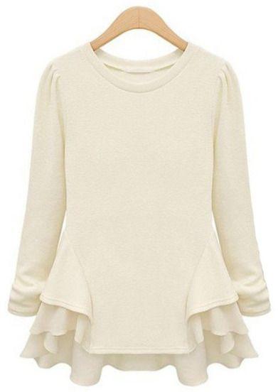 Beige Long Sleeve Contrast Chiffon Ruffles T-Shirt -SheIn(Sheinside) Mobile Site