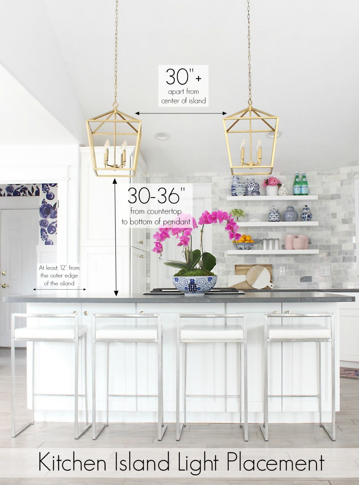placement of pendant lights over kitchen island # 1