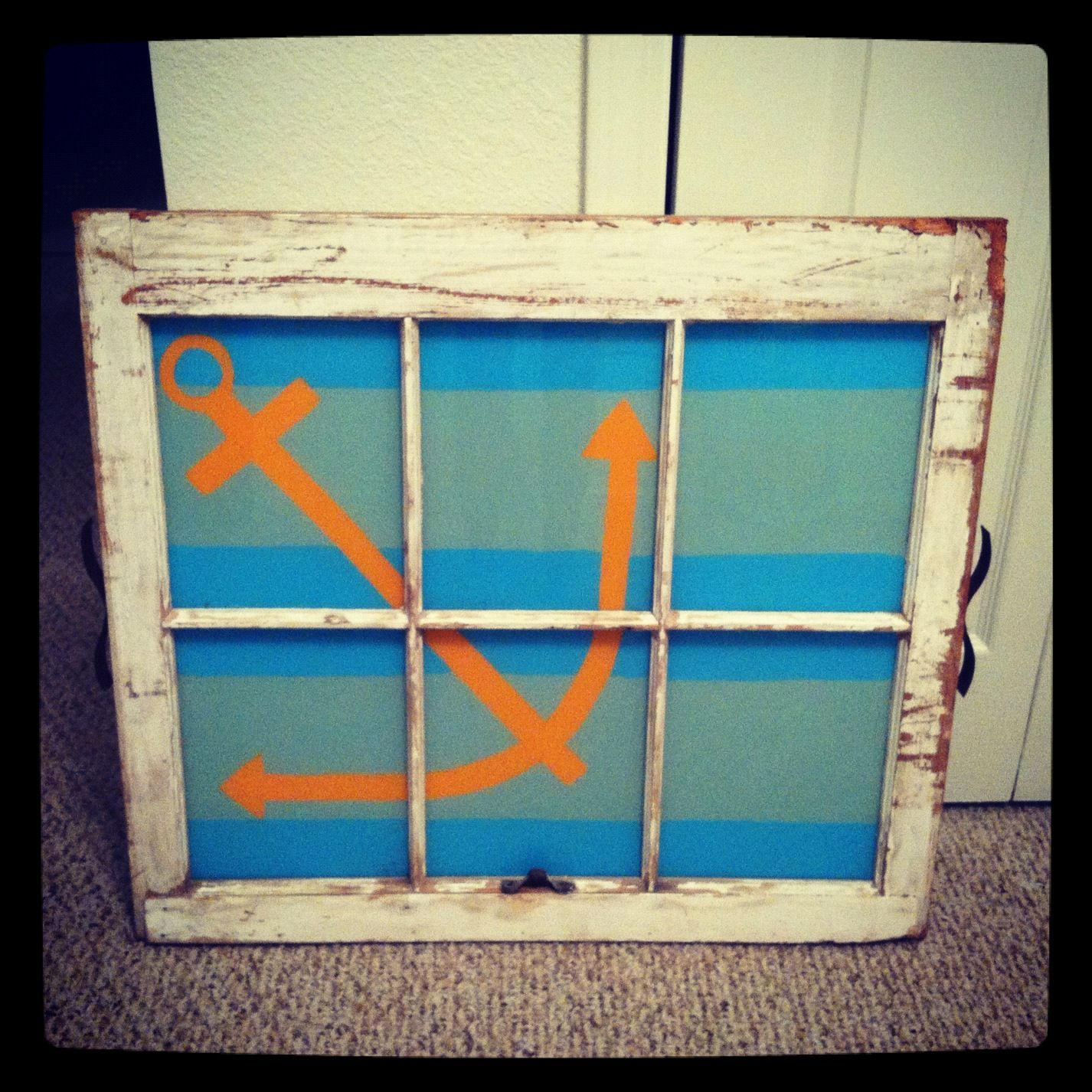 Window pane ideas  anchor painted window pane  painting ideas  pinterest  window