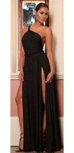 One Shoulder High Slit Dress