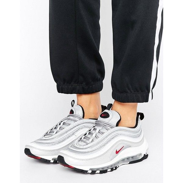 official photos ac959 98eb8 Nike Air Max 97 Silver Bullet Trainers ( 170) ❤ liked on Polyvore featuring  shoes, sneakers, silver, high top shoes, silver high tops, lace up shoes,  nike ...