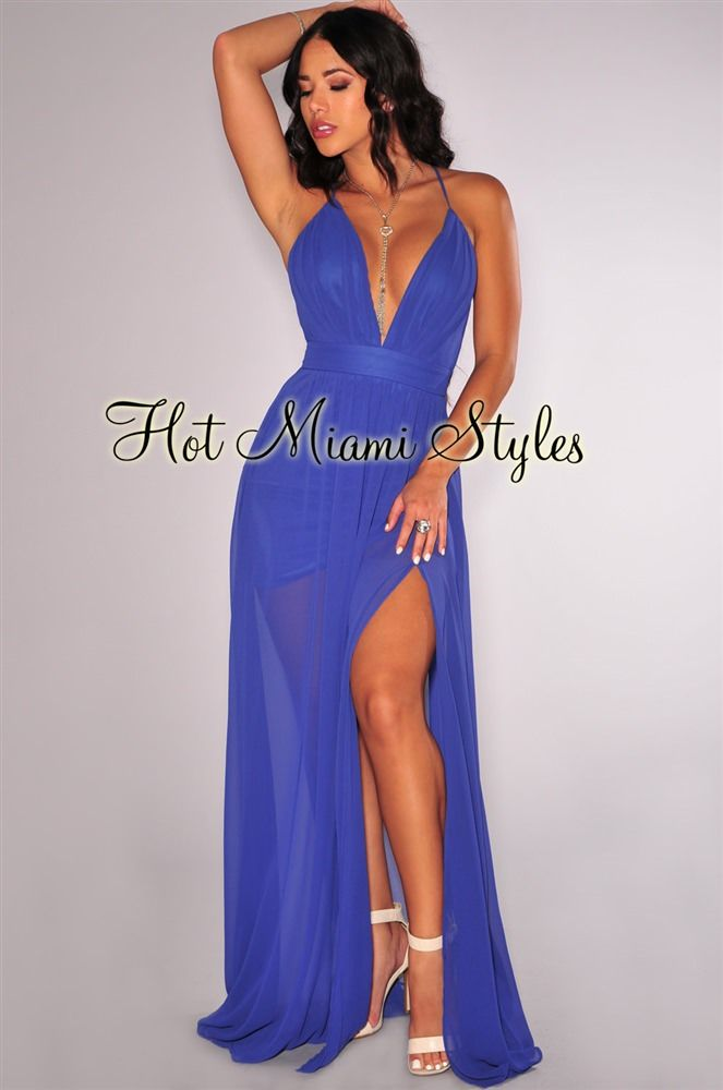Blue Violet CrissCross Back High Front Slit Maxi Dress