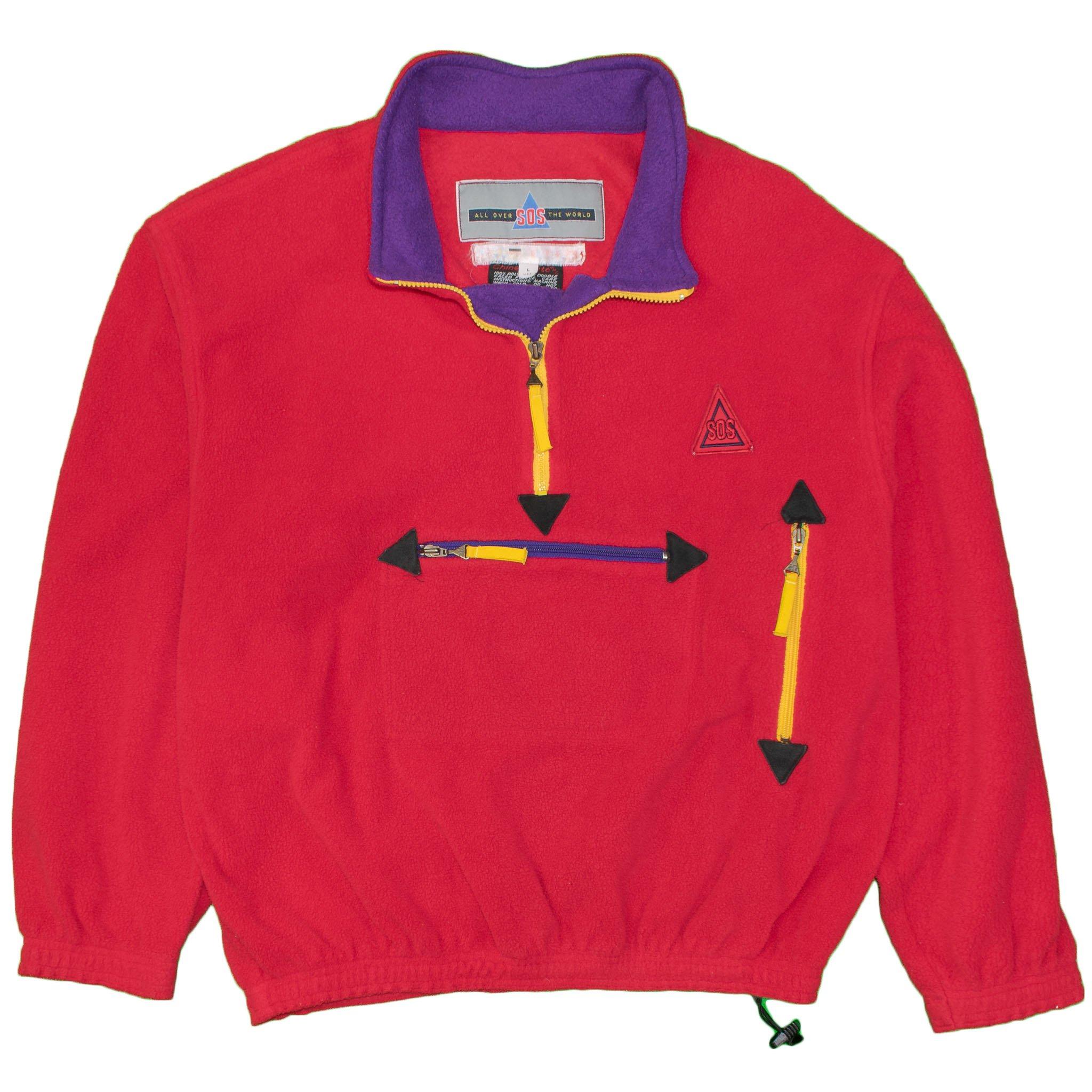 Vintage sportswear of sweden sos fleece jacket pullover large ski