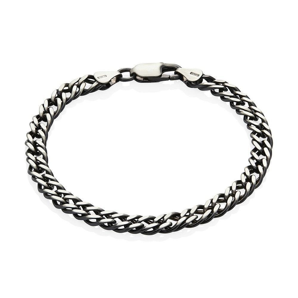 74545d0976e Men's Sterling Silver Gunmetal Grey Double Link Bracelet #silver  #thinkpositive #jewellery #antoniomarsocci #accessories  #thinkpositivefashioncafe ...