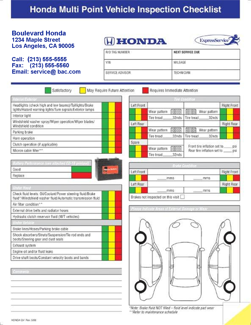 Ford Multi Point Inspection Report Card Download Vehicle Inspection Inspection Checklist Inspect