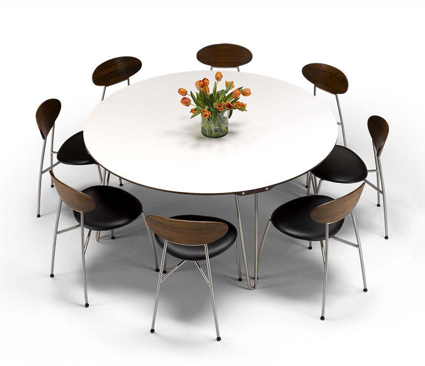 Modern Danish Corian And Walnut Round Dining Table