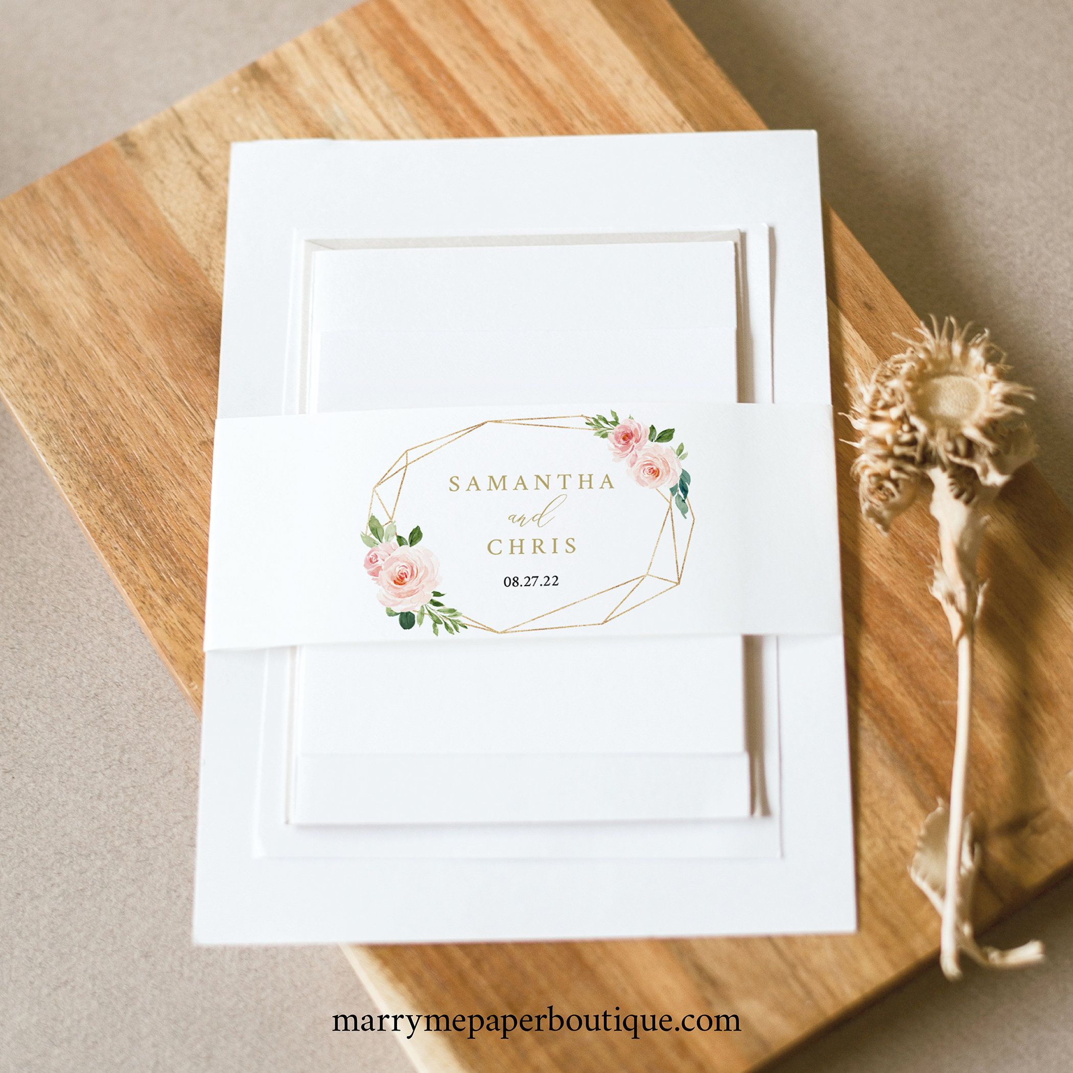 Belly band template blush pink floral instant download try