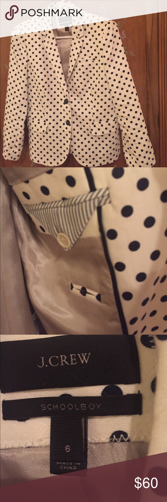 J crew school boy blazer Navy and white linen blazer. Very well made. Inside lipstick pocket.  This blazer was worn once. It's very crisp and clean. J. Crew Jackets & Coats Blazers