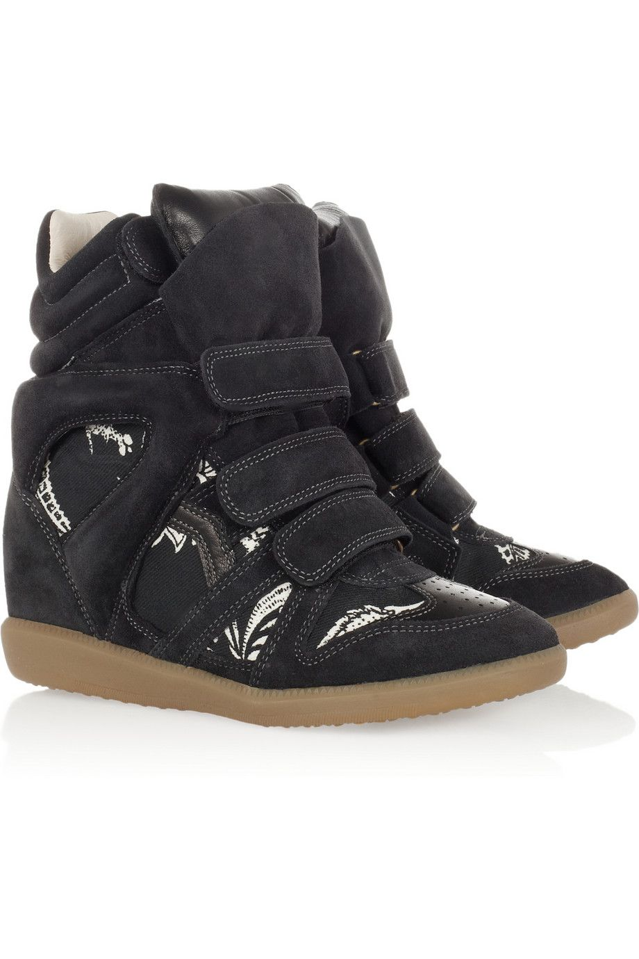 acbd3f599c Isabel Marant | The Bekett printed canvas and suede concealed wedge sneakers  | NET-A-PORTER.COM