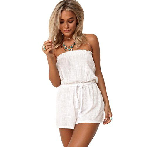 b0c23f35fe29 Internet Womens Mini Playsuit Off Shoulder Jumpsuit Beach Shorts -  http   www.