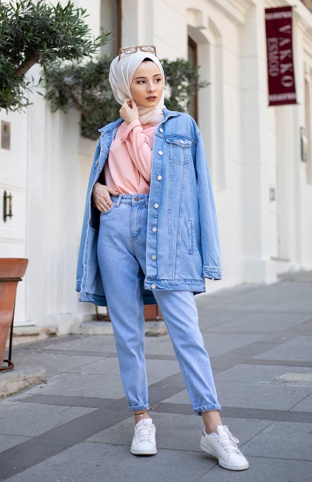 Lamelif Acik Mavi Bf Denim Ceket Islami Moda Tarz Moda Kot Ceket