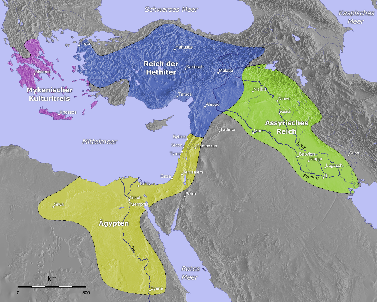Map showing mycenaeans hittites assyrians and egypt