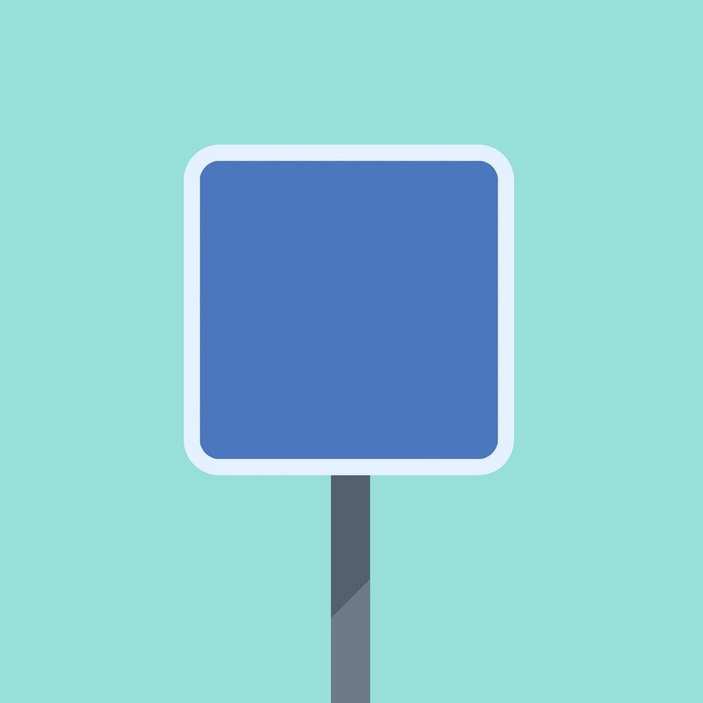 FLAT BLUE ROAD SIGN Flat minimal road sign, in cubic shape ...