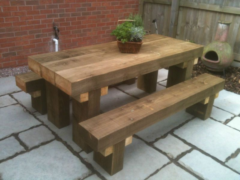 Sleeper Picnic Table Seats 6ft Long Chunky Tanalised Rustic Look Picnic Bench Rustic Patio Furniture Diy Garden Furniture Patio Furniture Table