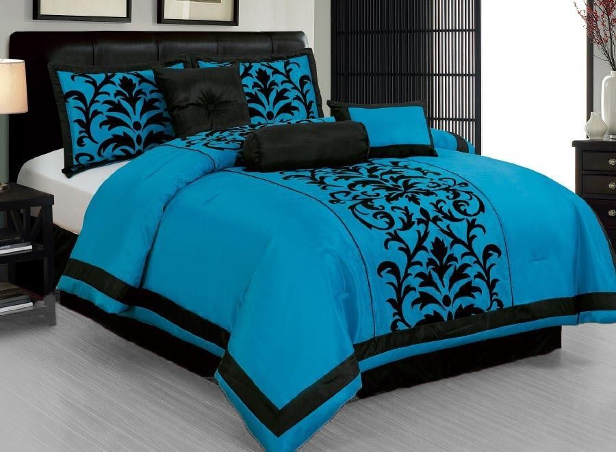 13 Pc Turquoise Black Flocking Comforter Sheet Set King Size New Black Comforter Comforter Sets Black Comforter Sets