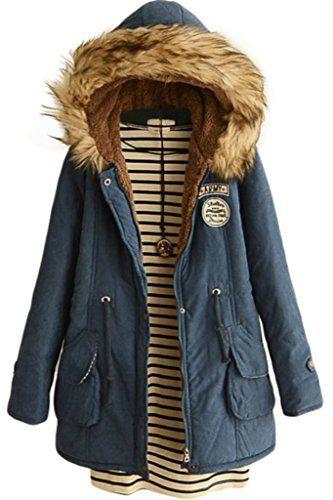 7c2a85cad55 Skirt BL Womens Winter Jacket Casual Thicken Hooded Fleece Lining Zipper  Padded Coat Blue Best Winter Coats for Women USA