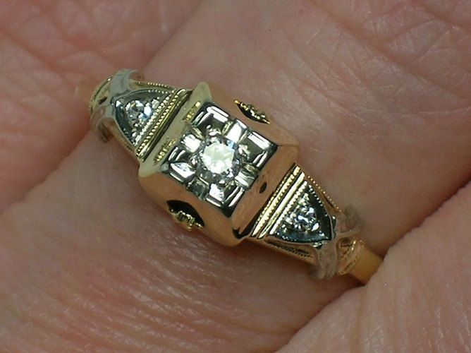 Vintage Engagement Ring Art Deco Two Tone 1930s To Early 1940s Rings 1930 1940
