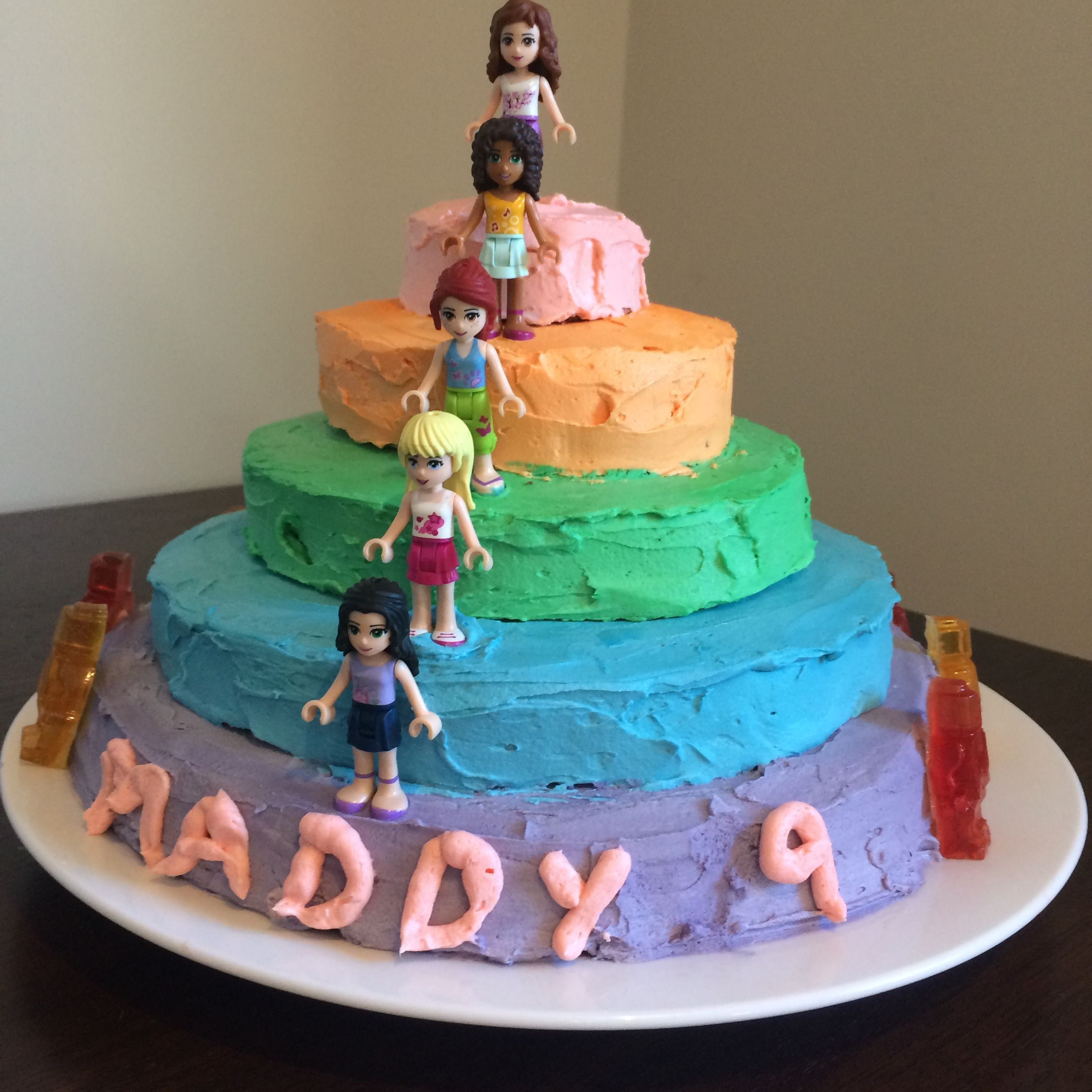 Amazing Lego Friends Layer Cake For 9 Year Old Girl With Images My Personalised Birthday Cards Beptaeletsinfo