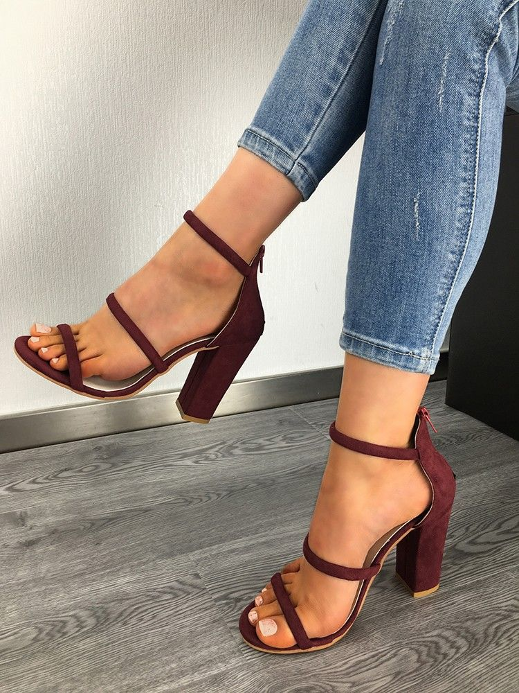 Shop Solid Color Chunky Heeled Sandals right now, get great deals at Joyshoetique  is part of Shoes -