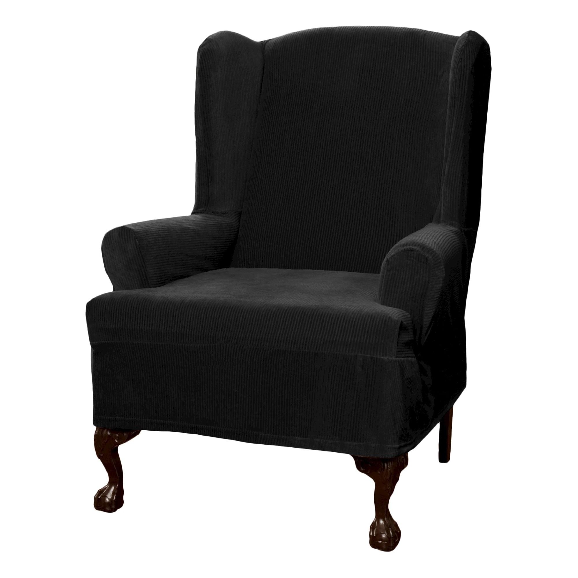 Black Collin Stretch Wingchair Slipcover Maytex