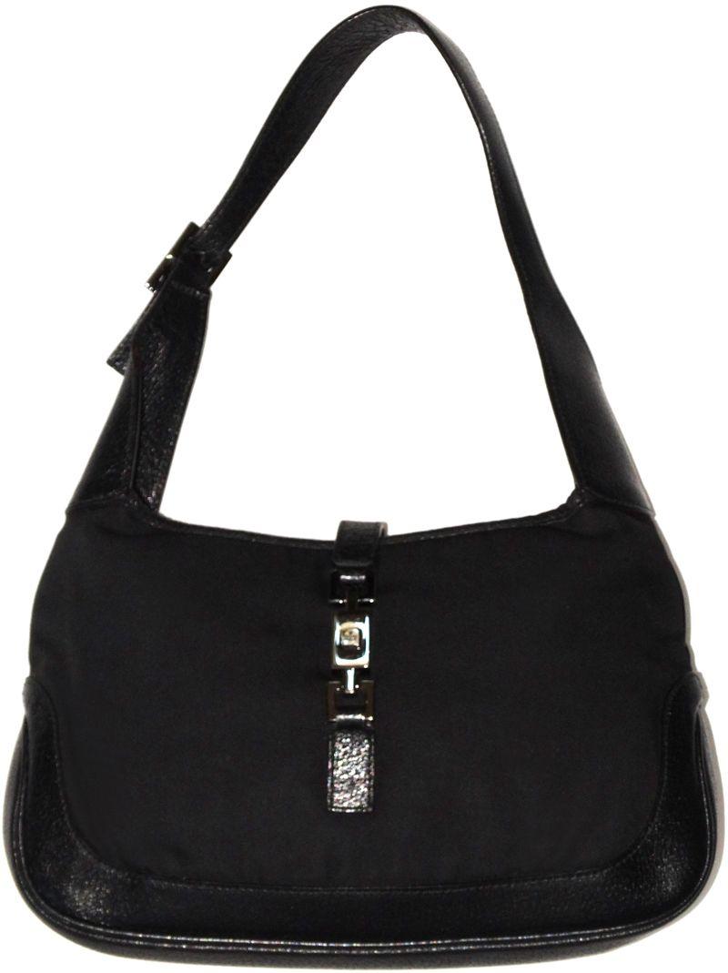 Gucci Designer Handbags Jackie O Bag Black Twill Shoulder Purse ... 18bcde3cde763