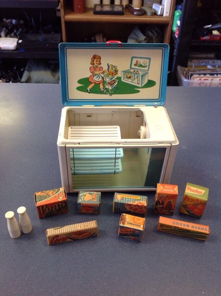 Rare Vintage Fuchs Tin Toy Kitchen Freezer West Germany Barbie Furniture Food #Fuchs