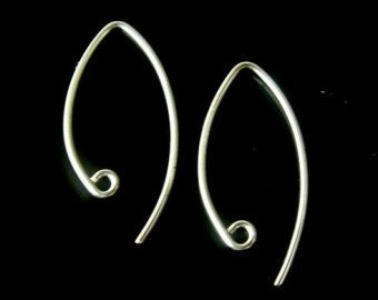 Sterling Silver Curled Hoop Earwires Ear Wires by SilverCityBeads