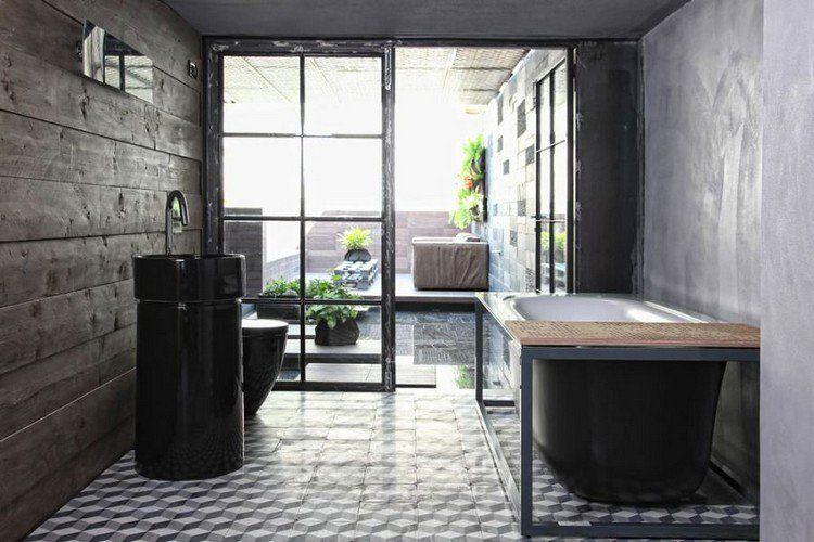 béton ciré salle de bain  parement mural en bois massif, carrelage
