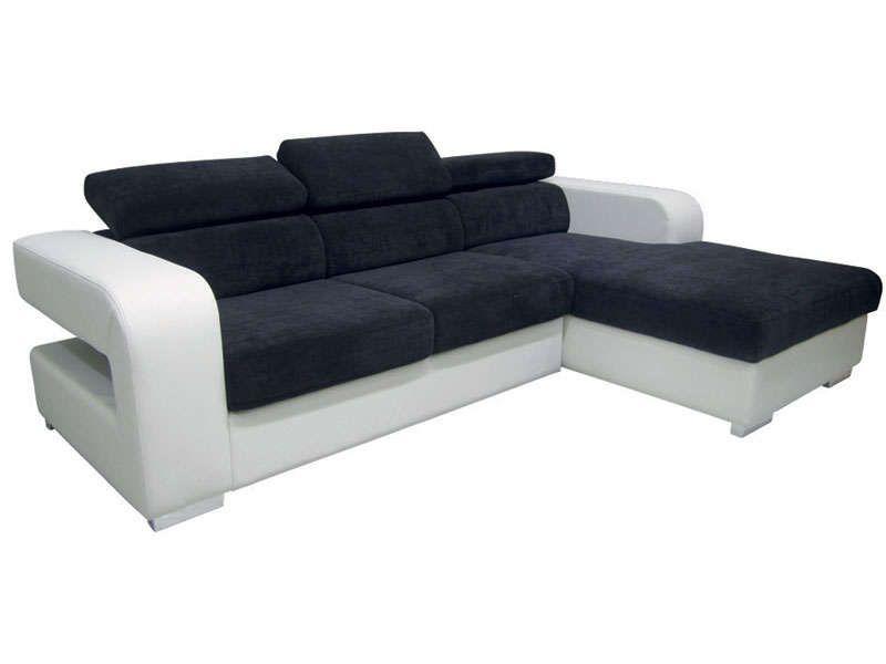 Canapé du0027angle fixe droit ARPEGE coloris blanc noir - Vente de - conforama chaises salle a manger