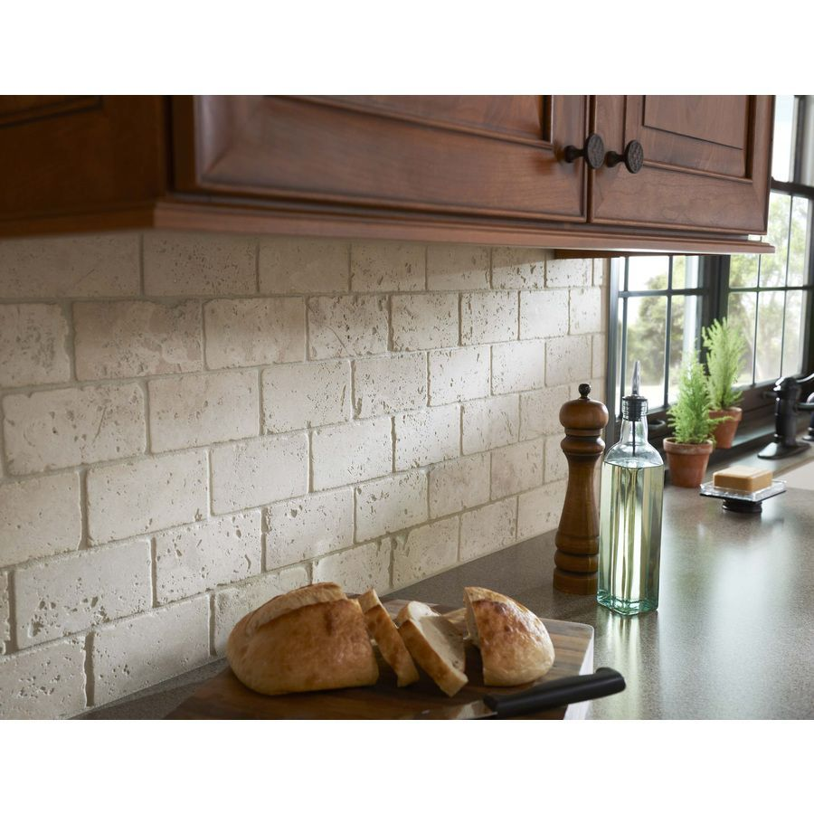 Travertene, subway tiles, stacked, not grouted. LOVE it! I wanted to ...