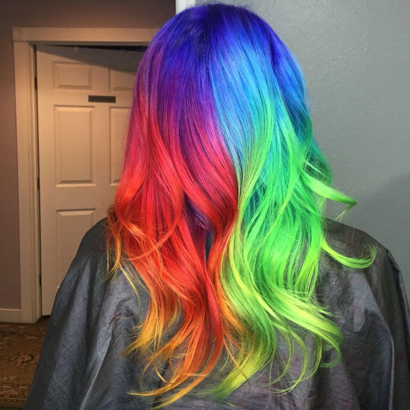 Rainbow half and half hair inspired by guy tang red blue green