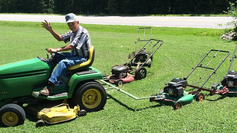 Danville Area Man Creates Homemade Device To Help Mow Lawn Lawn Mower Mowing Lawn