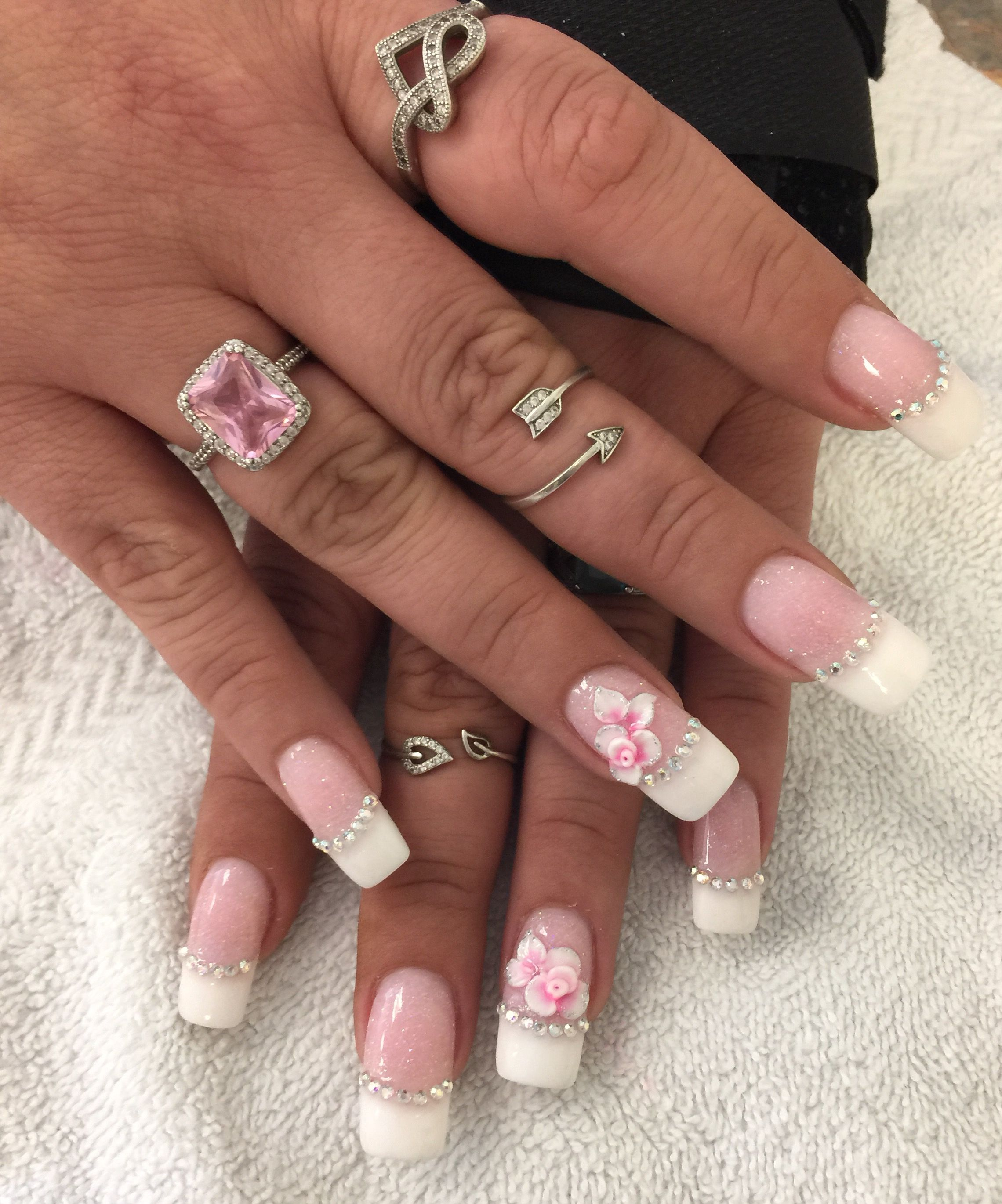 Nails 3d Designs French Manicure Rhinestones Pink And White 3d