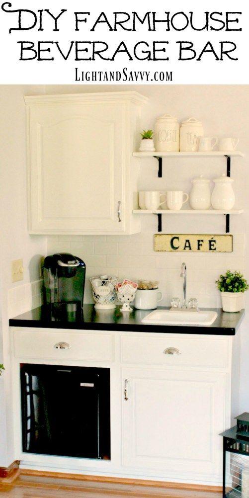 Diy Farmhouse Beverage Bar Reveal Home Coffee Stations Coffee