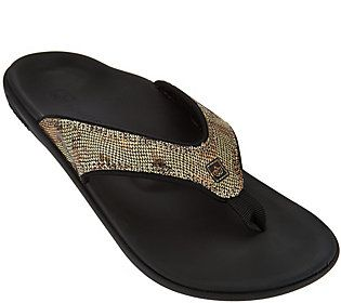 1443b9e9273 Spenco Snake Print Orthotic Thong Sandals - Yumi