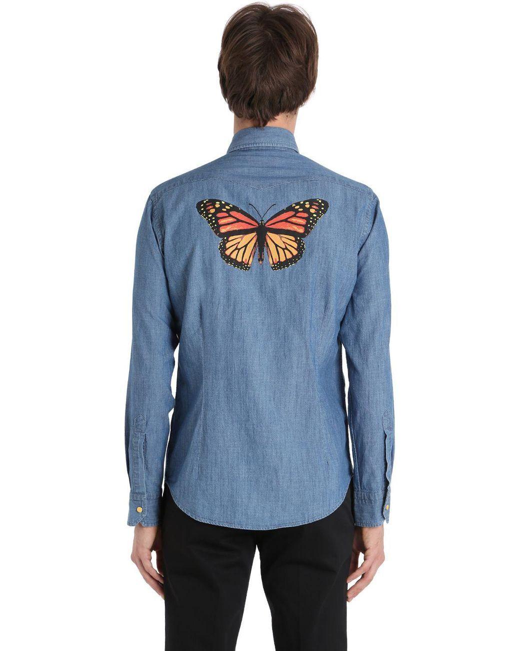 a008dcd31cc Men s Blue Butterfly Print Cotton Denim Shirt