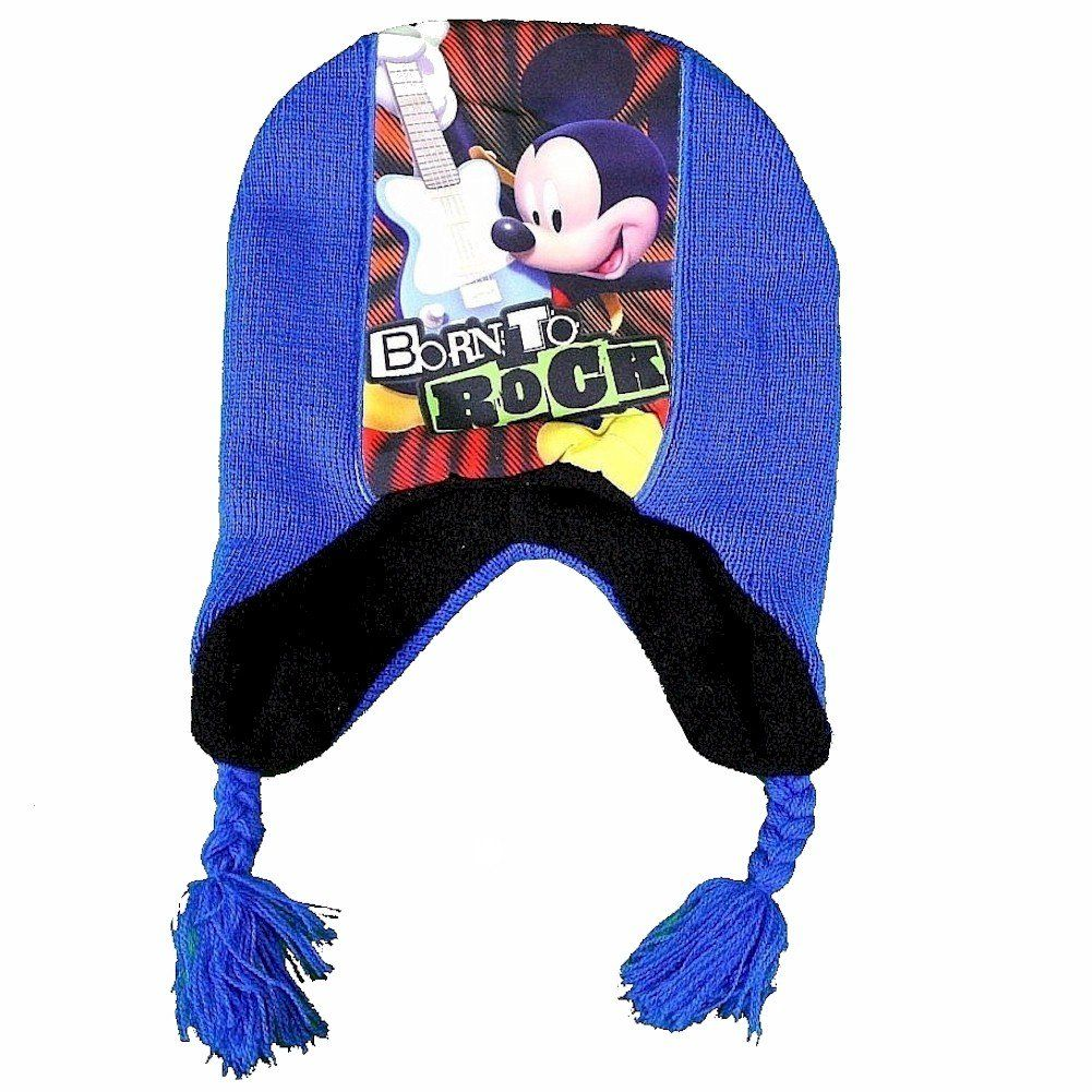 """Disney Mickey Mouse Born To Rock Toddler Boy's Blue Hat & Mittens Set Sz. 2-4T. Embroidered Mickey Mouse """"Born To Rock"""" On Trapper. Disney Mickey Mouse Logo Applique Grip On Mittens. Knit Style Hat & Mittens. Tassels On Ends Of Hat. Size: Toddler Boy's 2-4T."""