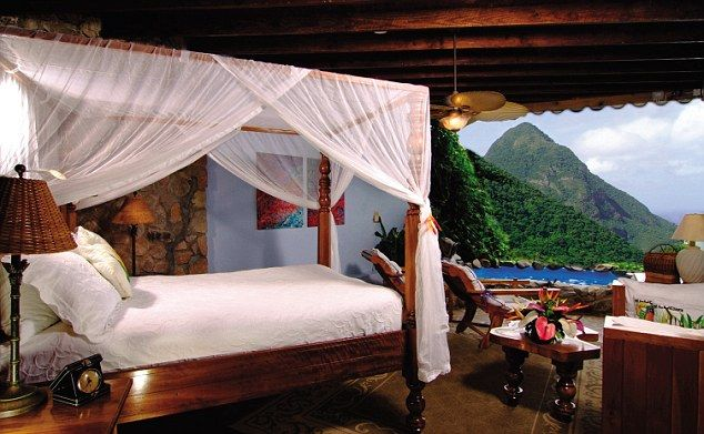 The Ladera Resort in St Lucia offers rooms with unhindered views of the famous Pitons